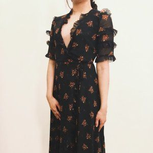 ZARA Black Floral Wrap Dress